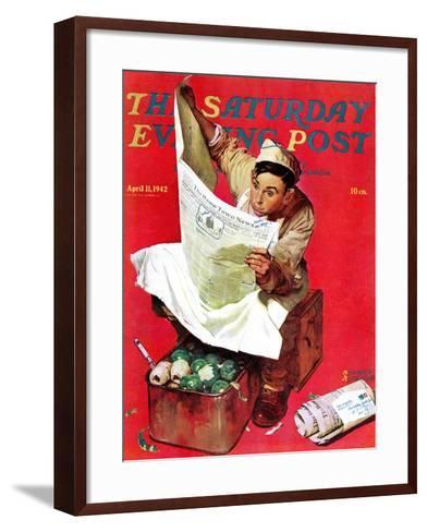 """""""Willie Gillis on K.P"""" Saturday Evening Post Cover, April 11,1942-Norman Rockwell-Framed Art Print"""