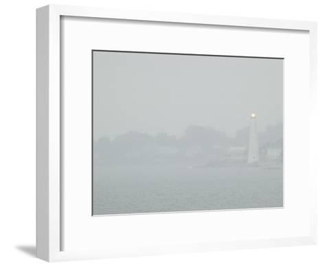 A Lighted Lighthouse Seen Through a Thick Fog on the Thames River-Todd Gipstein-Framed Art Print