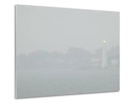 A Lighted Lighthouse Seen Through a Thick Fog on the Thames River-Todd Gipstein-Metal Print