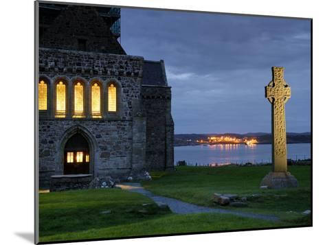 A Celtic Cross Stands Outside the Iona Monastery Church at Dusk-Jim Richardson-Mounted Photographic Print
