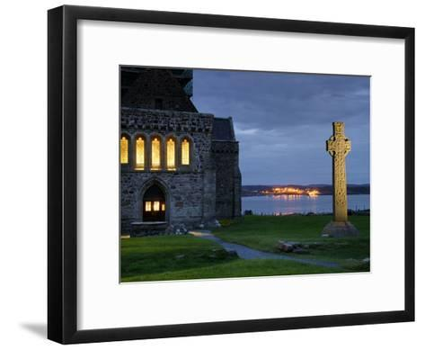 A Celtic Cross Stands Outside the Iona Monastery Church at Dusk-Jim Richardson-Framed Art Print