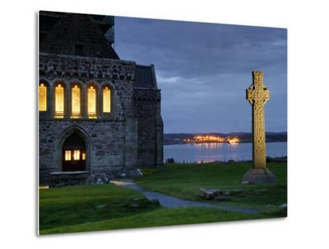 A Celtic Cross Stands Outside the Iona Monastery Church at Dusk-Jim Richardson-Metal Print