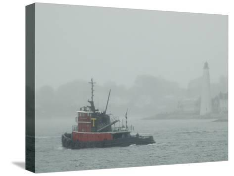 A Tugboat Travels Through Fog Past New London Harbor Light-Todd Gipstein-Stretched Canvas Print