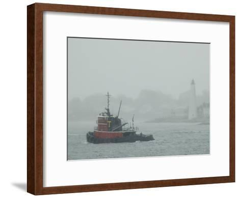 A Tugboat Travels Through Fog Past New London Harbor Light-Todd Gipstein-Framed Art Print