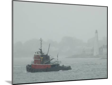 A Tugboat Travels Through Fog Past New London Harbor Light-Todd Gipstein-Mounted Photographic Print