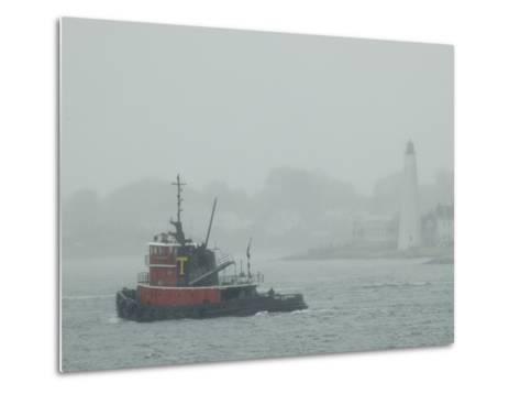 A Tugboat Travels Through Fog Past New London Harbor Light-Todd Gipstein-Metal Print