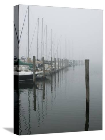 Sailboats Docked at a Pier on a Foggy Day-Todd Gipstein-Stretched Canvas Print