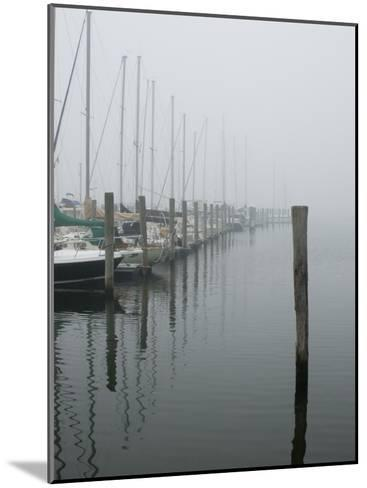 Sailboats Docked at a Pier on a Foggy Day-Todd Gipstein-Mounted Photographic Print