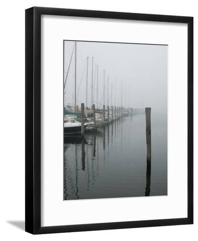 Sailboats Docked at a Pier on a Foggy Day-Todd Gipstein-Framed Art Print