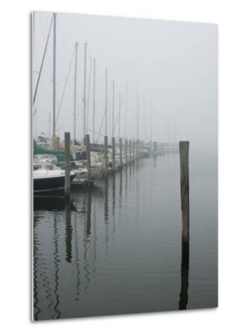 Sailboats Docked at a Pier on a Foggy Day-Todd Gipstein-Metal Print