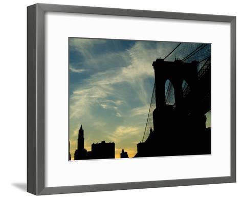 Skyward View of the Brooklyn Bridge Silhouetted Against a Blue Sky-Todd Gipstein-Framed Art Print