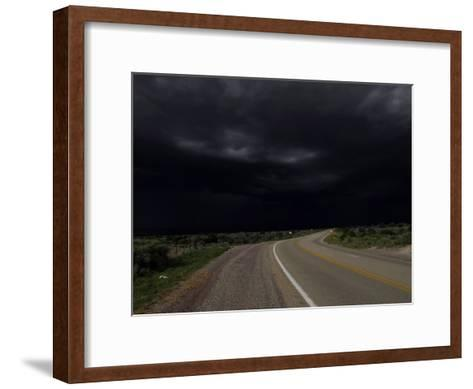 Highway 68 to Taos and Storm Clouds-Raul Touzon-Framed Art Print