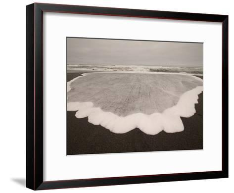 Water and Foam Washed Up on Freshwater Beach-Phil Schermeister-Framed Art Print