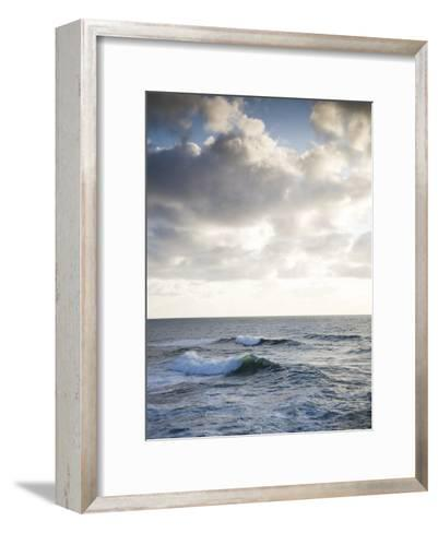 A Lone Wave Breaks as the Clouds Glow at Sunset-Michael Hanson-Framed Art Print