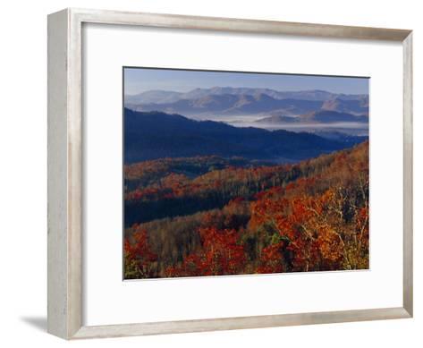 Fog Lying in Mountain Valleys in the Early Morning in Autumn-Raymond Gehman-Framed Art Print