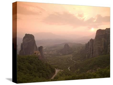 The Roussanou Monastery on One of the Meteora Peaks and the Valley-Richard Nowitz-Stretched Canvas Print