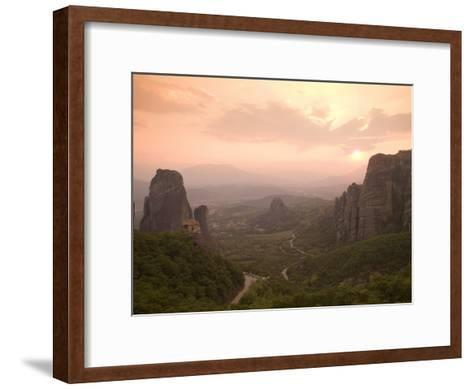 The Roussanou Monastery on One of the Meteora Peaks and the Valley-Richard Nowitz-Framed Art Print