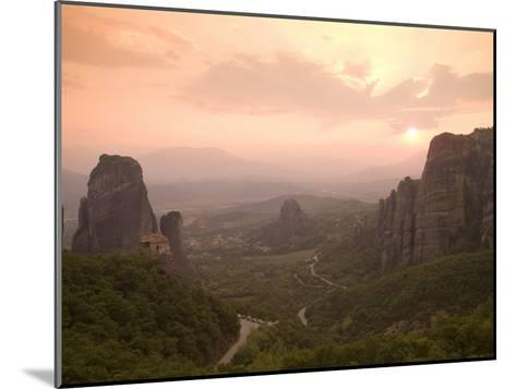 The Roussanou Monastery on One of the Meteora Peaks and the Valley-Richard Nowitz-Mounted Photographic Print