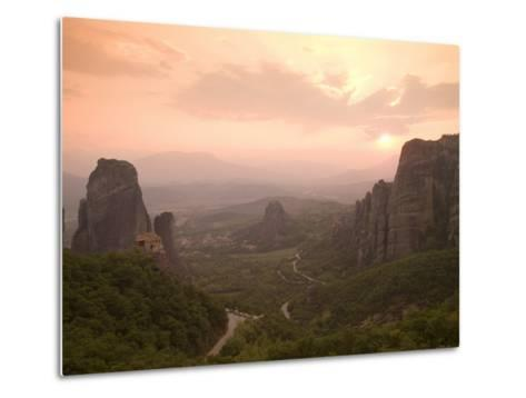 The Roussanou Monastery on One of the Meteora Peaks and the Valley-Richard Nowitz-Metal Print