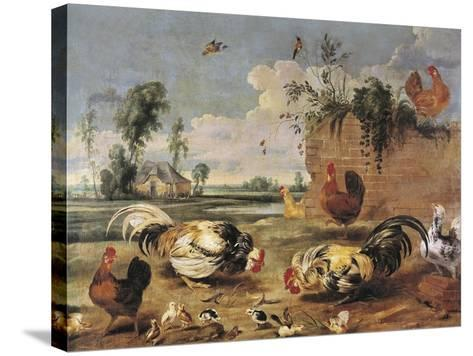 Fight of Cocks-Frans Snyders-Stretched Canvas Print