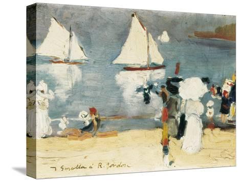 Beach in La Concha Bay in San Sebasti?n-Joaqu?n Sorolla y Bastida-Stretched Canvas Print