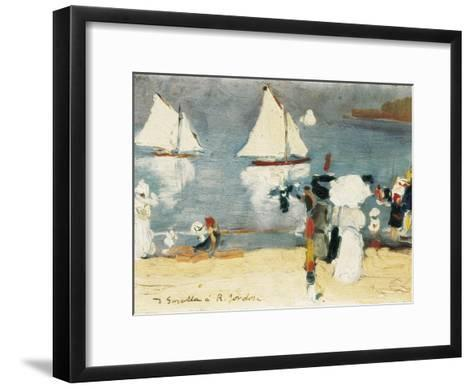 Beach in La Concha Bay in San Sebasti?n-Joaqu?n Sorolla y Bastida-Framed Art Print