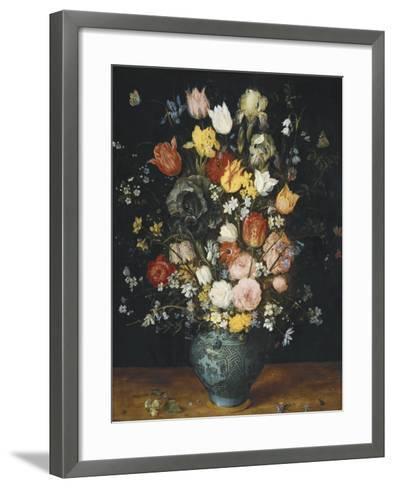 Bouquet in a Blue Vase-Jan Brueghel the Elder-Framed Art Print