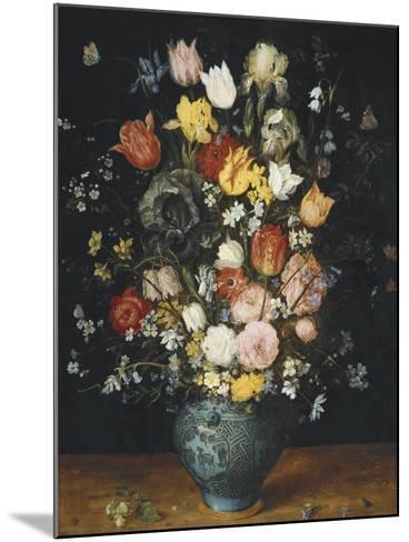 Bouquet in a Blue Vase-Jan Brueghel the Elder-Mounted Art Print