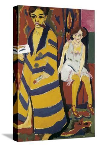 Self-Portrait with Model-Ernst Ludwig Kirchner-Stretched Canvas Print