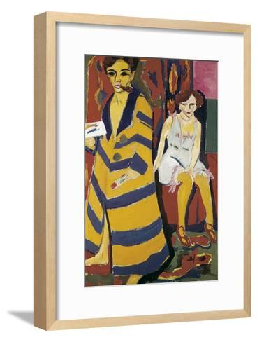 Self-Portrait with Model-Ernst Ludwig Kirchner-Framed Art Print