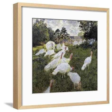 The Turkeys at the Chateau De Rottembourg, Montgeron-Claude Monet-Framed Art Print