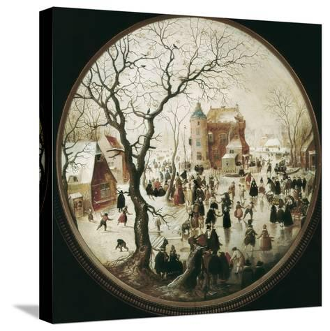 A Winter Scene with Skaters Near a Castle-Hendrik Avercamp-Stretched Canvas Print