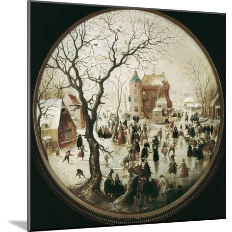 A Winter Scene with Skaters Near a Castle-Hendrik Avercamp-Mounted Art Print