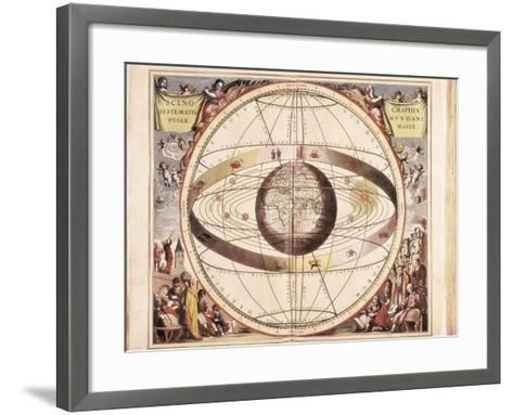 Scenographia Systematis Mundani Ptolemaici, Representation of the Ptolemaic Universe-Andreas Cellarius-Framed Art Print