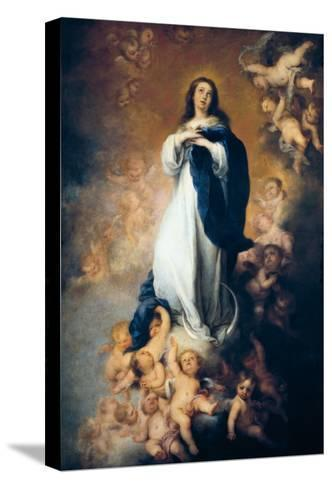 """The Immaculate Conception """"Of Soult""""-Bartolome Esteban Murillo-Stretched Canvas Print"""
