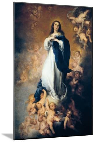 """The Immaculate Conception """"Of Soult""""-Bartolome Esteban Murillo-Mounted Art Print"""