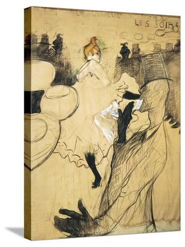 """La Goulue and Valentin Le Desosse at the """"Moulin Rouge""""-Henri de Toulouse-Lautrec-Stretched Canvas Print"""