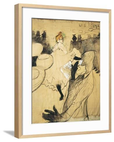 """La Goulue and Valentin Le Desosse at the """"Moulin Rouge""""-Henri de Toulouse-Lautrec-Framed Art Print"""
