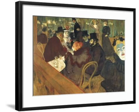 At the Moulin Rouge-Henri de Toulouse-Lautrec-Framed Art Print