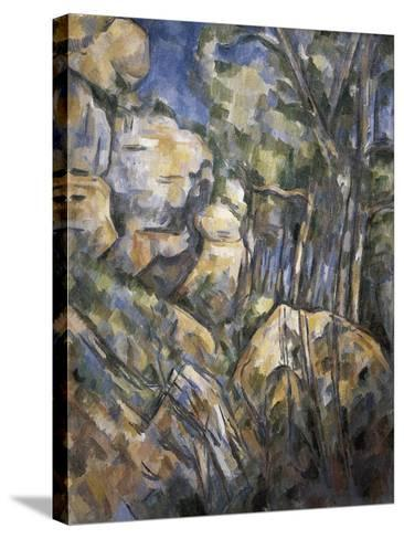 Rocks Near the Caves Below the Chateau Noir-Paul C?zanne-Stretched Canvas Print