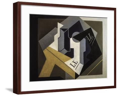 Fruit Bowl and Newspaper-Juan Gris-Framed Art Print