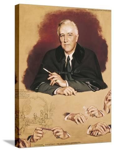 """Study of Franklin Delano Roosevelt for the Painting """"Big Three at Yalta""""-Douglas Chandor-Stretched Canvas Print"""
