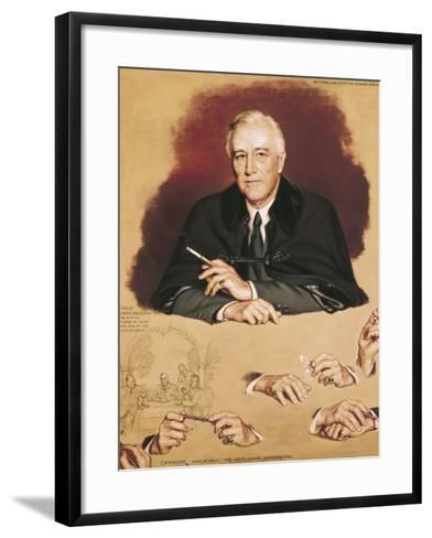 "Study of Franklin Delano Roosevelt for the Painting ""Big Three at Yalta""-Douglas Chandor-Framed Art Print"