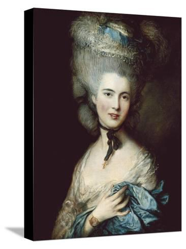 A Woman in Blue (Portrait of the Duchess of Beaufort)-Thomas Gainsborough-Stretched Canvas Print