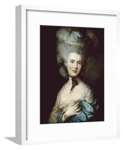 A Woman in Blue (Portrait of the Duchess of Beaufort)-Thomas Gainsborough-Framed Art Print