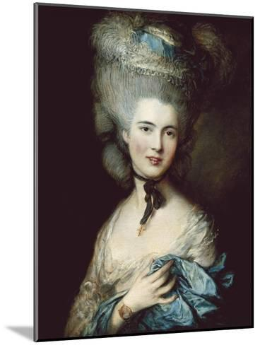 A Woman in Blue (Portrait of the Duchess of Beaufort)-Thomas Gainsborough-Mounted Art Print