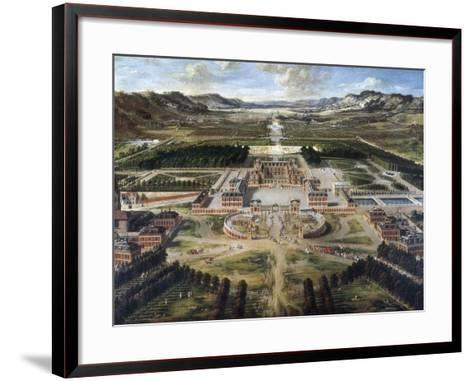 View of Chateau and Gardens of Versailles, Taken from Paris Avenue-Pierre Patel-Framed Art Print