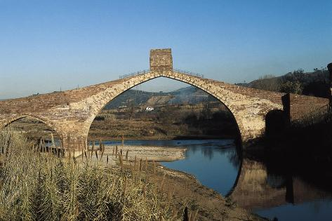 Pont Del Diable (Evil's Bridge) over the Llobregat River, with Gothic Central Arch on a Roman Basis--Stretched Canvas Print