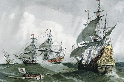 Spanish Galleons and Vessels (17th C)--Stretched Canvas Print