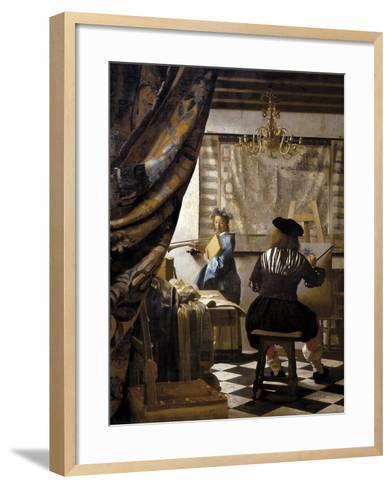 The Artists Studio or the Art of Painting-Johannes Vermeer-Framed Art Print